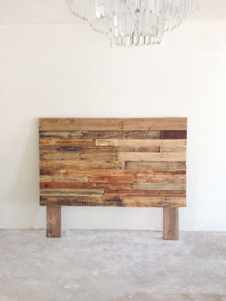 Reclaimed recycled pallet wood headboard head board king for Unique king headboards