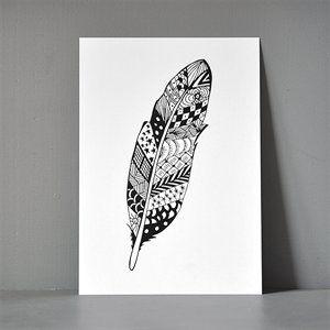Postkort XL - Zendoodle Feather