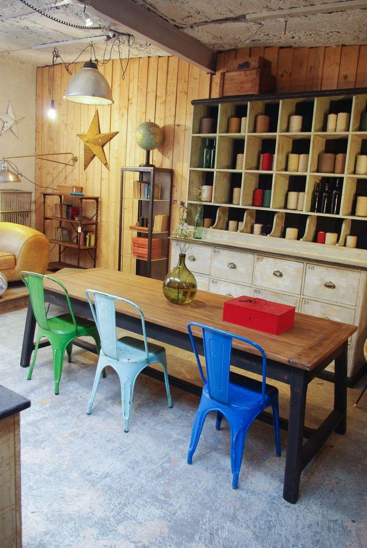 Ancienne table de ferme en bois par le Marchand d'Oublis