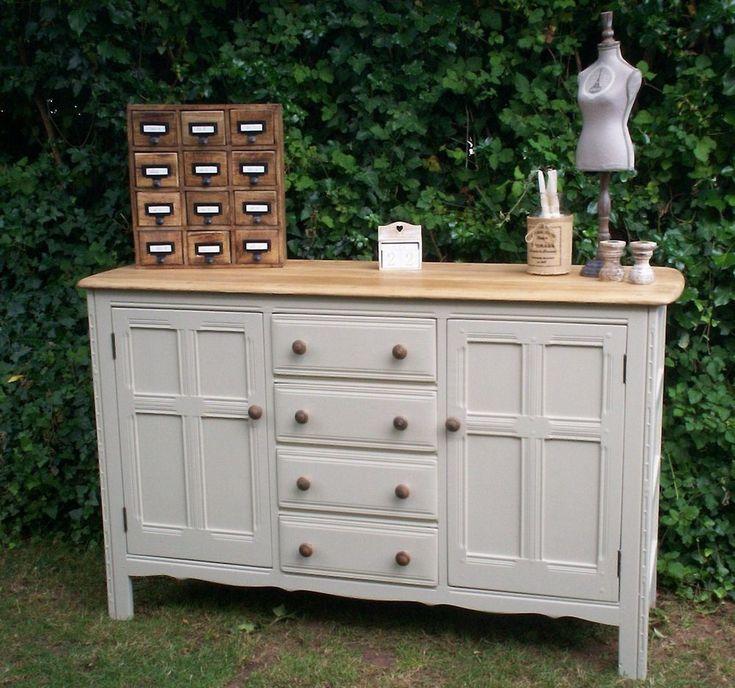 painted ERCOL sideboard dresser base cupboard vintage shabby chic solid oak #vintageshabbychicfurniture #Shabbychicdressers
