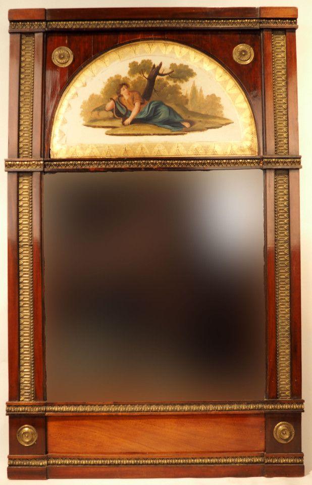 Зеркало в раме красного дерева с живописной вставкой (красное дерево, бронза…