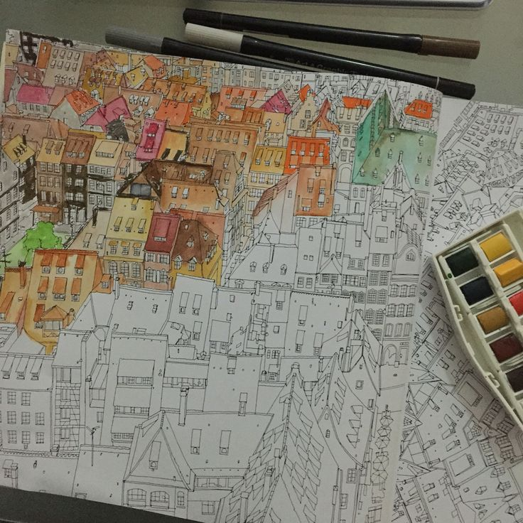 The Colour Is Starting To Build Up Nicely Book Fantastic Cities By Steve McDonald Coloring