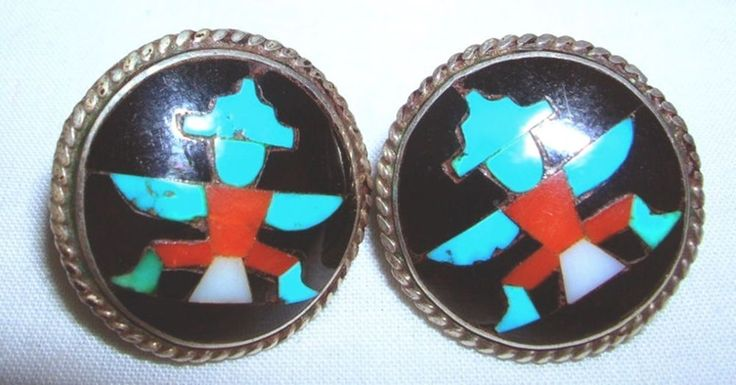 This pair of Zuni, mosaic inlay earrings are made in the unmistakable style of the reknowned artist John Gordon Leak, (Leekity). An extraordinary example of the finest stone to stone inlay attributed to Zuni Master John Gordon Leak. | eBay!