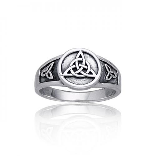 925 Sterling Silver Triquetra Celtic Knot Ring