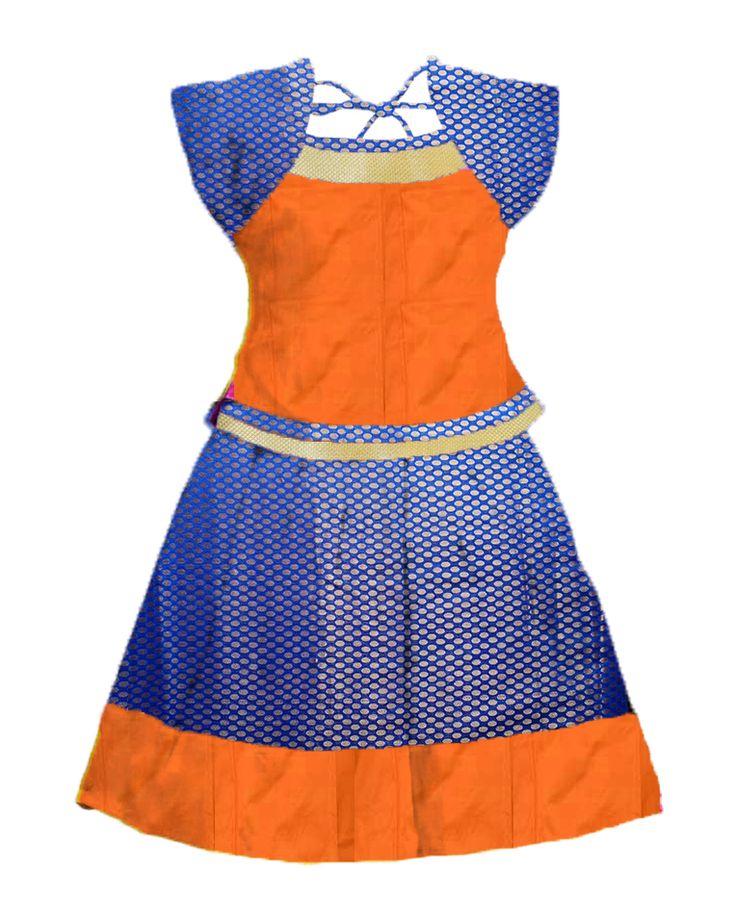 #readymadePattupavadai #kidspattupavadai blue with orange Pattu…