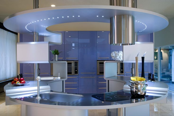 acropolis kitchen by pininfarina design with blue wall