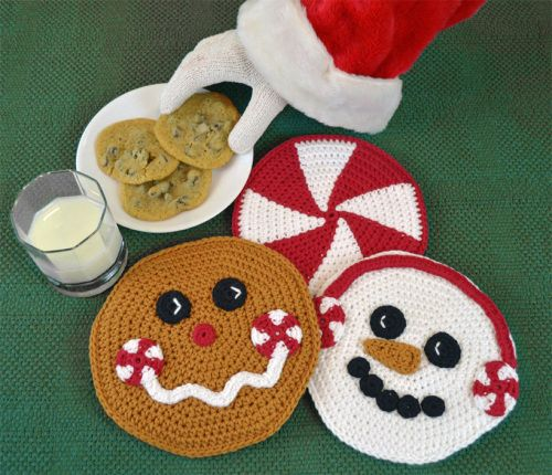 Christmas Crochet Hot Pad Set, pattern for gingerbread man, snowman and peppermint.  Peppermint Pals by Darleen Hopkins #CbyDH