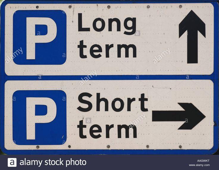 Parking long term and short term road sign traffic Canterbury City Kent England Stock Photo