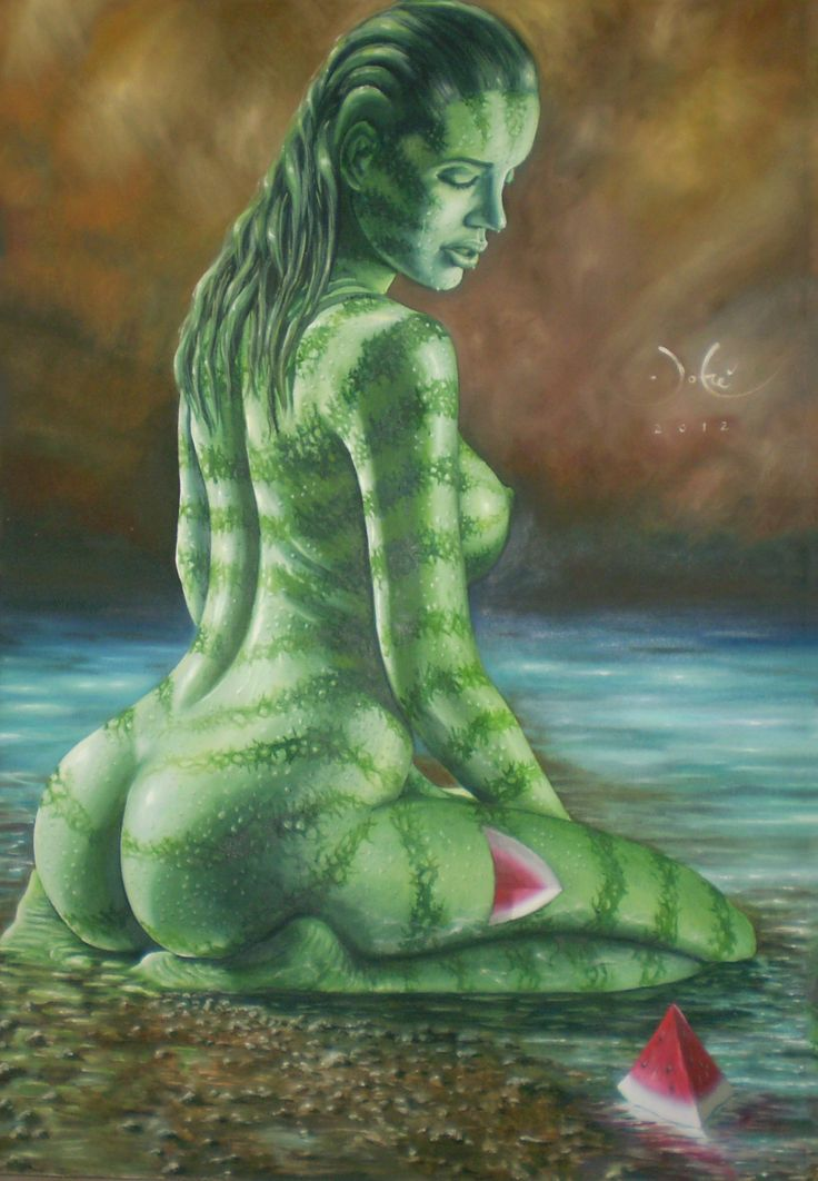 mujer sandia -oleo sobre tela  By john mauricio jofré martinez