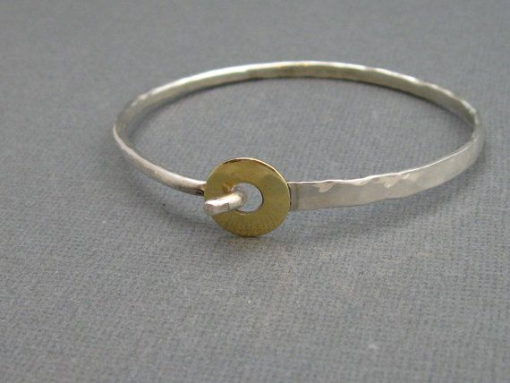 Artisan Sterling Silver Bangle Bracelet with Brass Ring Closure, Handcrafted Mixed Metal Jewelry