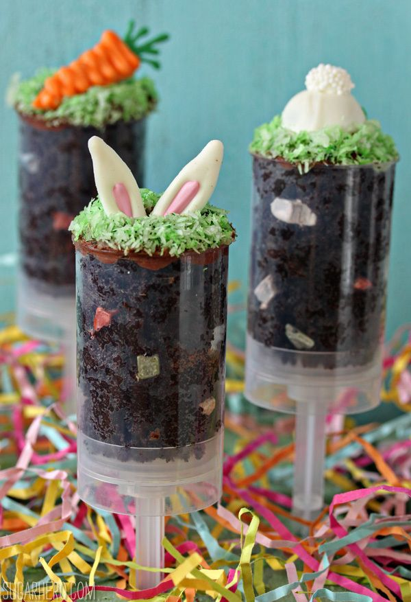 "Easter Cake Push Pops | These Easter Cake Push Pops really are easy to make–they're basically cake and frosting mixed together, to form a moist, dense ""dirt."" @elabau"