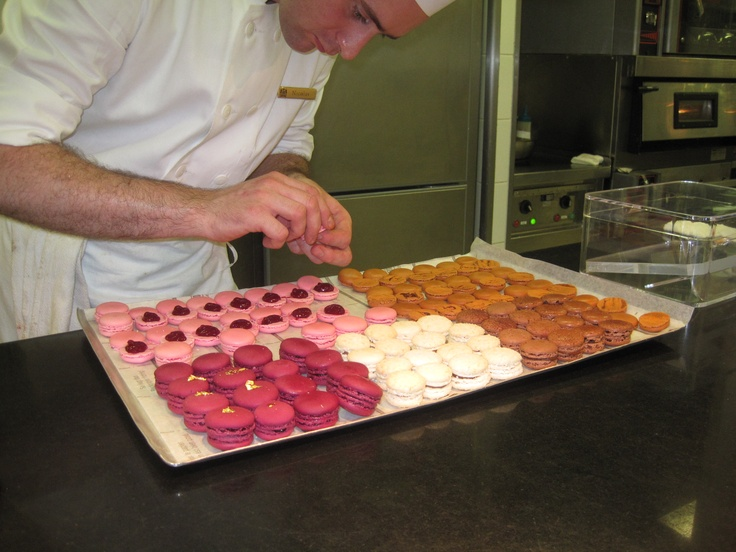 At Le Bristol, one of Laurent Jeannin's sous-chefs is preparing macarons