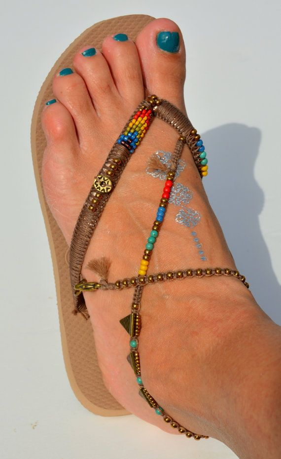 Bohemian Foot Jewelry Sandals, Women Flip Flops, Anklet Decorated Havaianas Sandals, Crochet Sandals Boho Ethnic Style, Multi Colored Beaded Bohemian Handmade Flip Flip Decorated Sandals based on Bronze Rose Gold Havaianas - 100% Handmade.  You can decorate your hands, ears, neck but also … your feet!  These are an absolutely unique Must Have Flip Flops!!! The combination between style and comfortable at the same pair of sandals.  By decorating I used professional jewelry techniques and the…