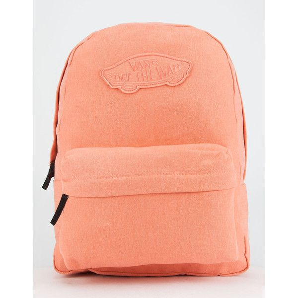 Vans Realm Backpack ($38) ❤ liked on Polyvore featuring bags, backpacks, coral, padded backpack, knapsack bag, padded bag, vans bag and backpack bags