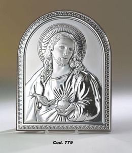 Srebrny obrazek Serce Jezusa, doskonały upominek dla dziecka z okazji I Komunii Świętej. #dla_babci #chrzest #rocznica