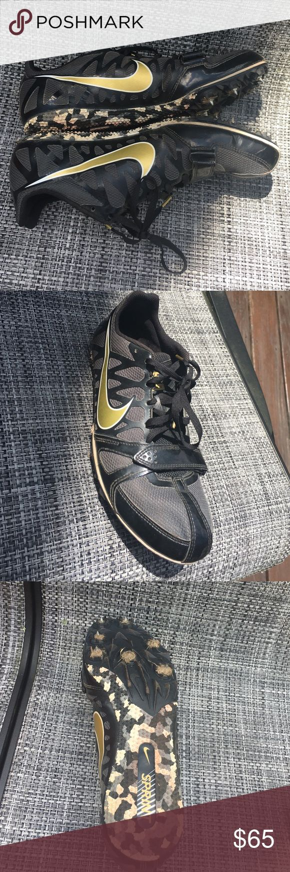 Black and gold sprinting spikes Great condition black and gold sprinting short distance spikes. Worn for one outdoor track season. Dirt around the spikes on the bottom, but overall great condition! Velcro on top above laces. Will come with a spike wrench, Nike shoe box, and back up spikes! No scuffs or marks on top of shoe at all :) make offers Nike Shoes Athletic Shoes