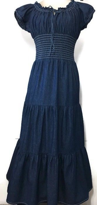 8fc783f514 Monroe and Main Denim Peasant Dreams Dress Medium Modest Long Smocked Maxi   MonroeMain  PeasantPeasantDreamsMaxiDress  Casual