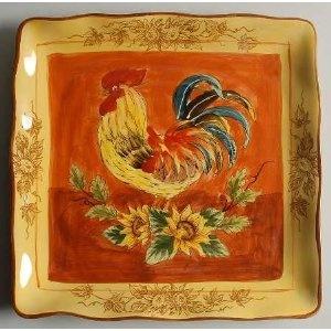 Maxcera Corp Orange Rooster Square Dinner Plate, Fine China Dinnerware