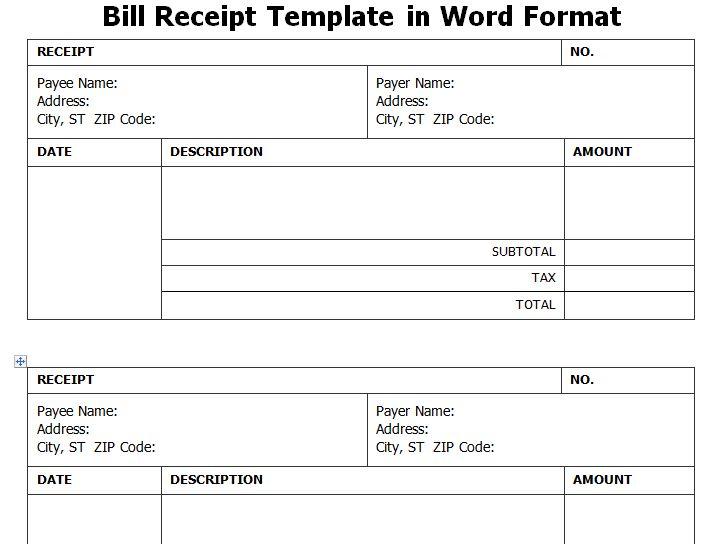 Get Bill Receipt Template in Word Format WordTemplateInn Excel - petty cash voucher template