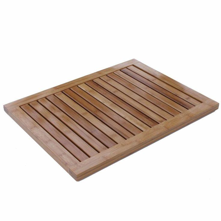 Bamboo Bathroom Floor Bath Tub Shower Wood Door Mat Spa