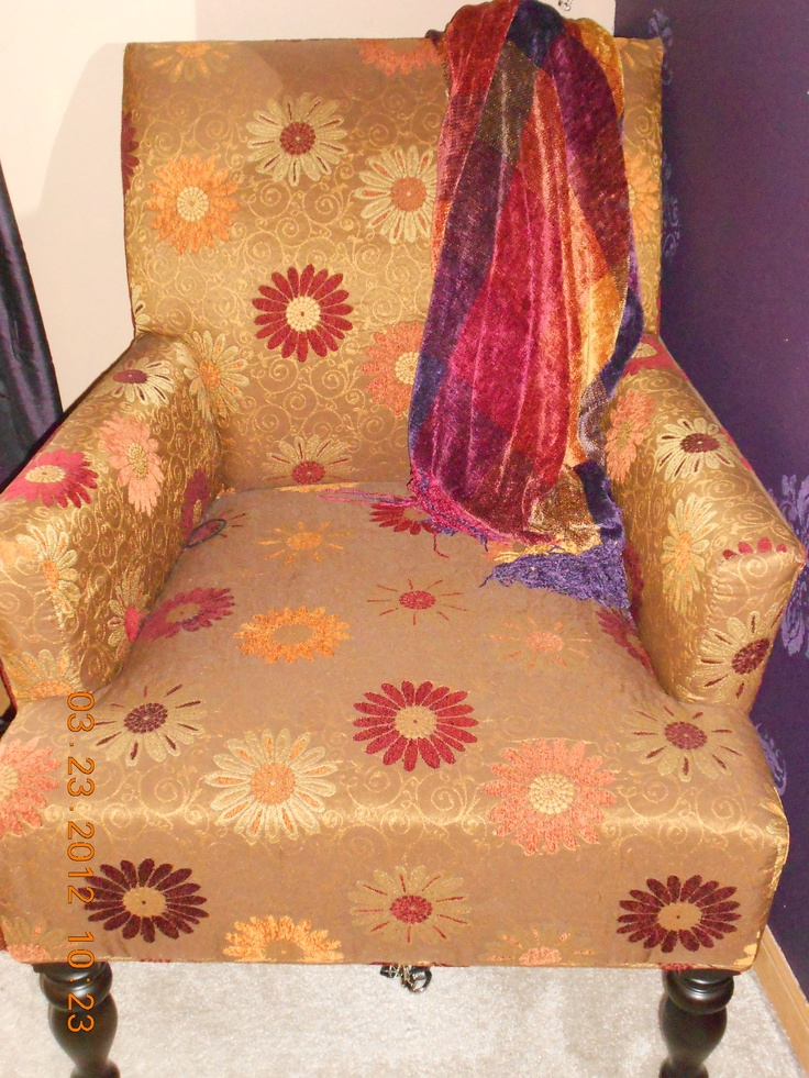 Pier 1 Daisy Gold Liliana Armchair and Purple Plaid Chenille Throw
