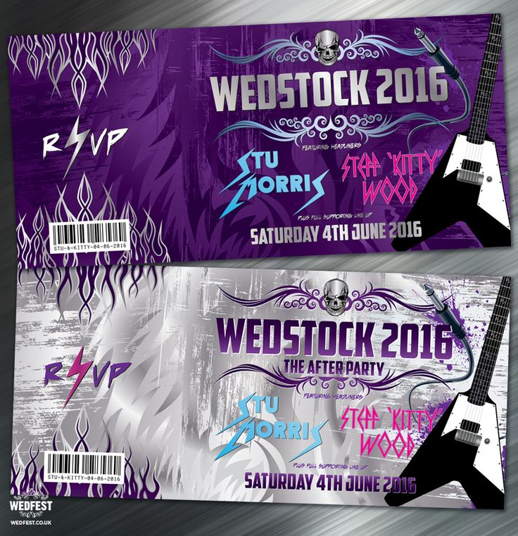 Heavy Metal Wedstock Wedding invitation - http://www.wedfest.co/kitty-stus-heavy-metal-wedstock-wedding/