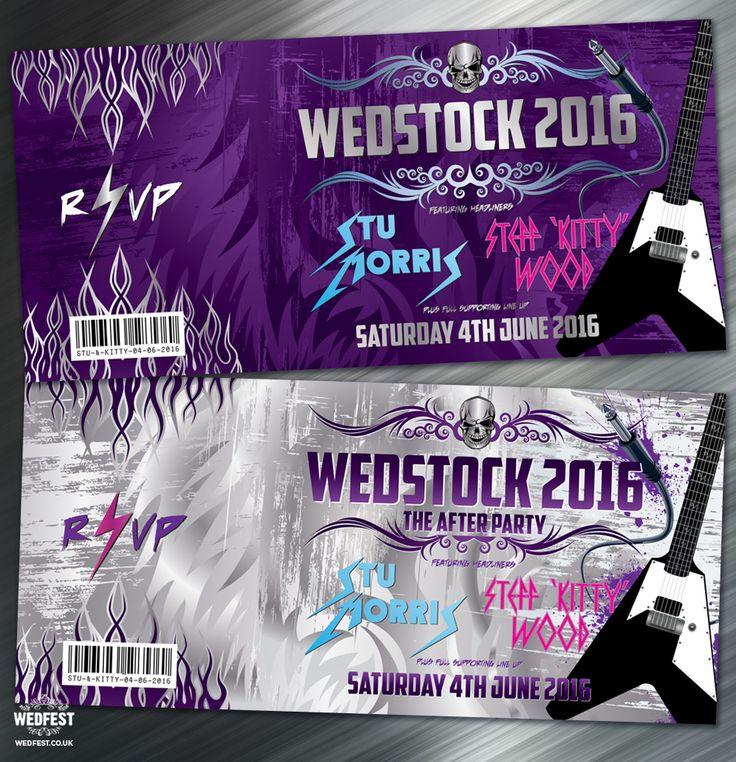 Heavy Metal Wedstock Wedding invitation - http://www.wedfest.co/kitty-stus-heavy-metal-wedstock-wedding/