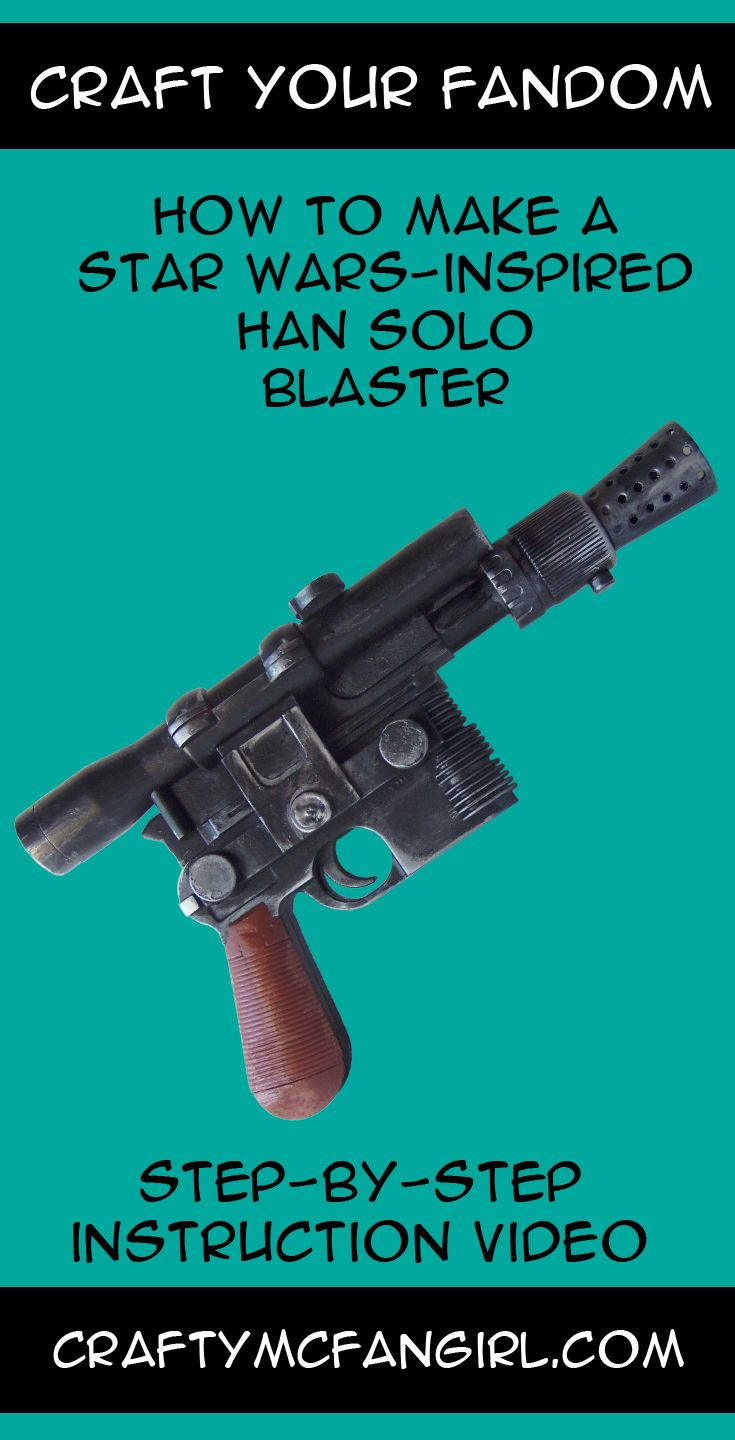 This Han Solo Blaster makes a great cosplay prop for your Han Solo Costume. This Star Wars DIY craft is perfect for your favorite scoundrel. Step-by-step instruction video from GeekyMcFangirl on YouTube and at CraftyMcFangirl.com http://craftymcfangirl.com/home/ http://craftymcfangirl.com/home/geekymcfangirl-on-youtube