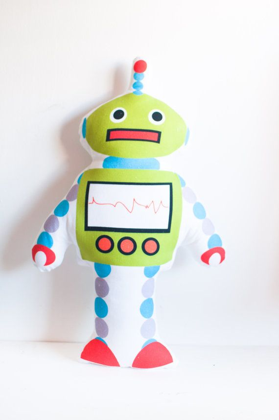 Robot pillows by thetickledpinkfox on Etsy