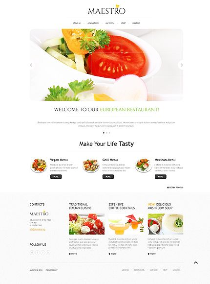 38 best cafe and restaurant website templates images on pinterest template 45138 maestro european website template pronofoot35fo Choice Image