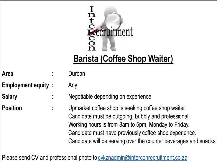 Barista (Coffee Shop Waiter) Durban Intercon Recruitment Pinterest - barista cover letter