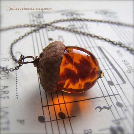 Glass Acorn Necklace Topaz with Brown Flecks by by bullseyebeads, $24.00