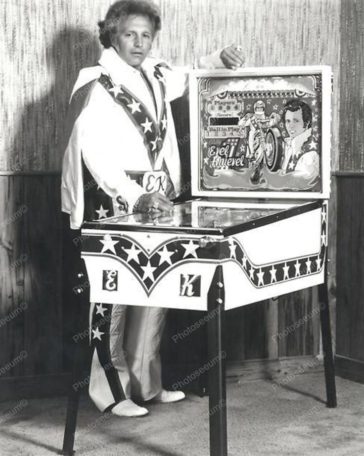 Evel Knievel Pinball Machine Home Edition 8x10 $19.99 Free Shipping