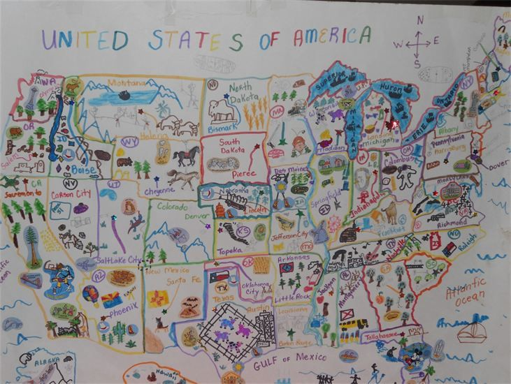 Add art to US geography: Trace a US map, then add capitol cities and drawings to depict natural monuments and/or activities/events/foods/etc the state is known for. Cute AND fun! {New Millennium Girls - Homeschool Resources{