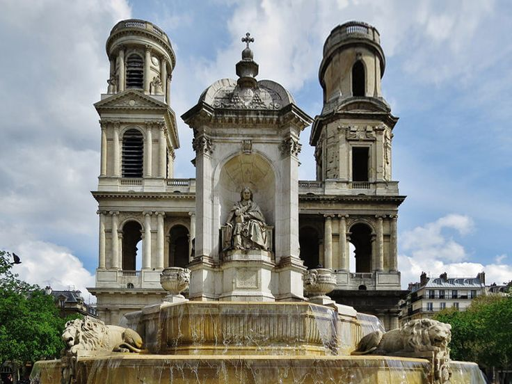 Saint Sulpice Church & Fountain, Paris - In 1732 a competition was held for the design of the west facade, won by Servandoni, who was inspired by the entrance elevation of Christopher Wren's Saint Paul's Cathedral in London.