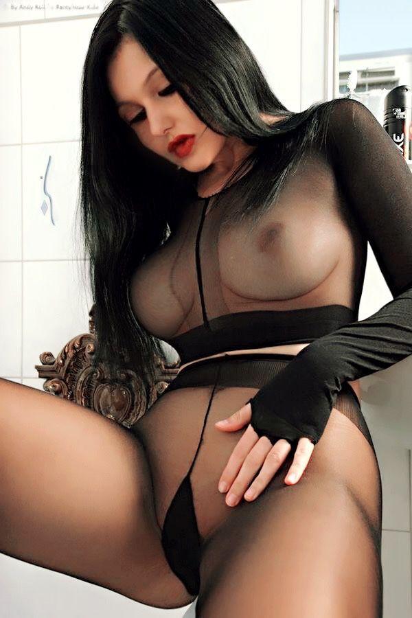 Any Modeling sheer pantyhose and shiny