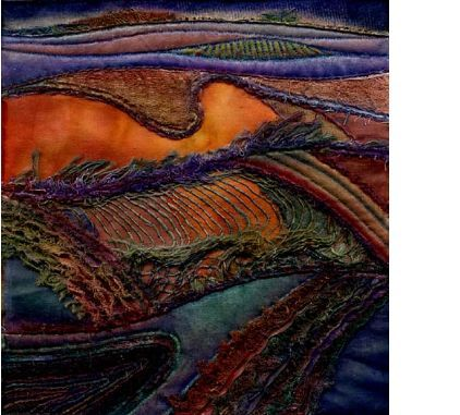 """""""Wiltshire Downs 1"""" by Margaret M. Roberts Textiles / mixed media   16cm by 12cm"""