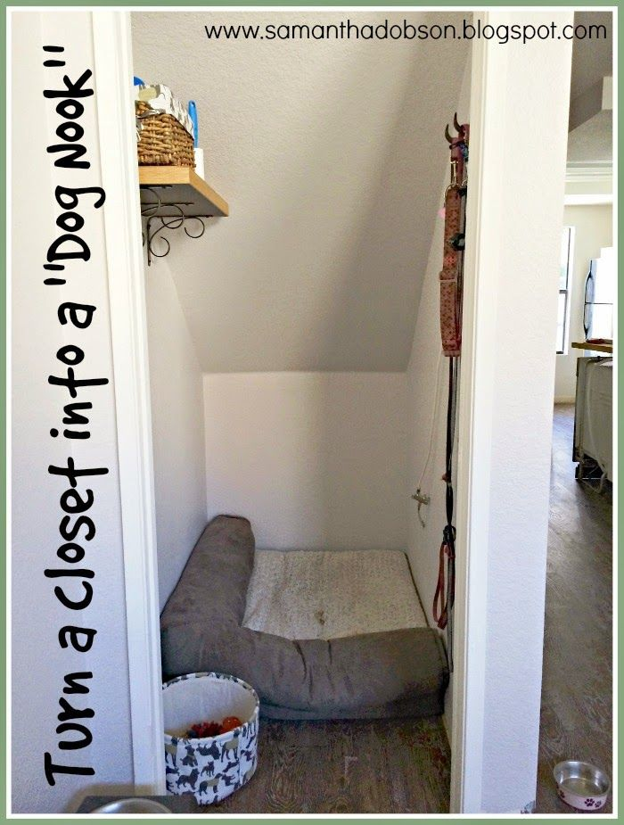 We turned an under-the-stairs closet into a little den for our pack of dogs. They love it and it keeps all their stuff organized. Read the full article for more details!