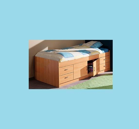 GAMMA CABIN BED IN BEECH WITH 200X90X15CM MATTRESS - R236B + R233
