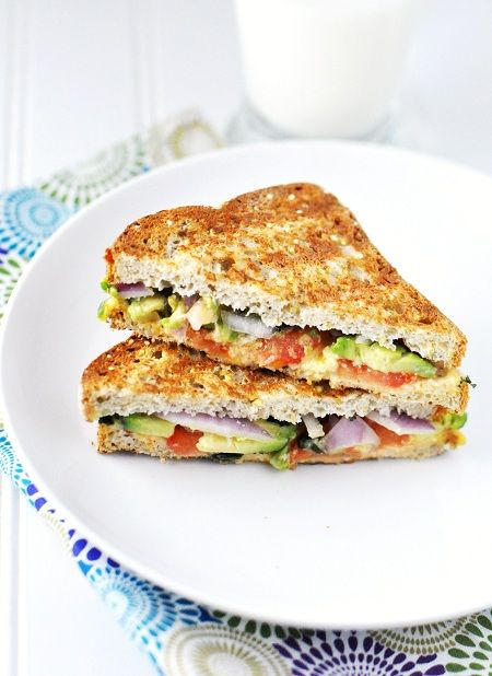 yummy, gooey, cheesy, crispy yet chewy, luscious - > Grilled Cheese with avocado tomato cilantro onion