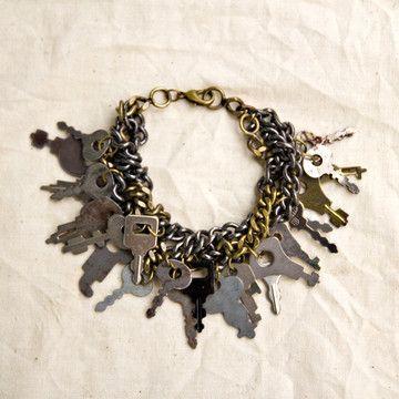 Vintage diary keys as a charm bracelet.