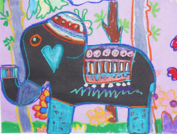 African Elephant,black construction paper and construction paper crayons