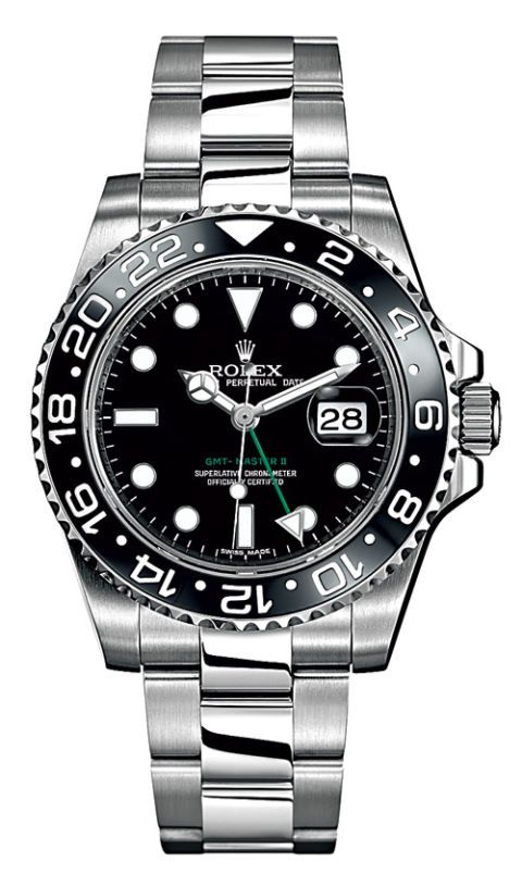 Steel Oyster Perpetual GMT-Master II watch ($8,450) by Rolex; rolex.com.
