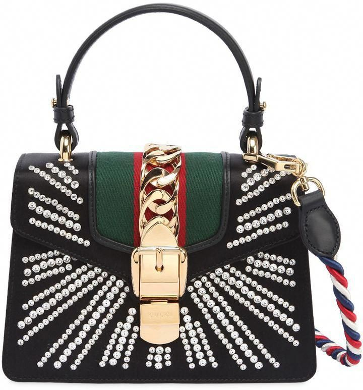 80addf244 Gucci Mini Sylvie Embellished Silk Satin Bag  Designerhandbags ...