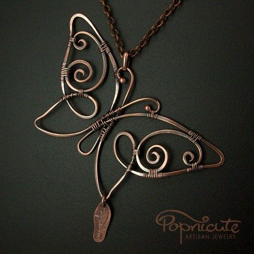 Butterfly Spread Wings Wire Wrapped Copper Pendant Handmade Necklace...
