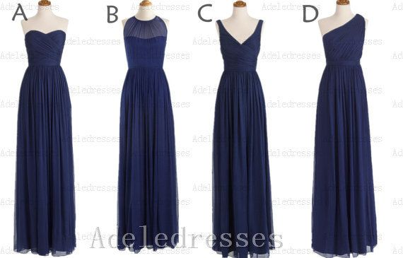 A Line Navy Blue Chiffon Long Bridesmaid Dress,Elegant Ruffles Dark Blue Bridesmaid Dress,Long Bridesmaid Dresses,One Shoulder Prom Dress on Etsy, $99.99