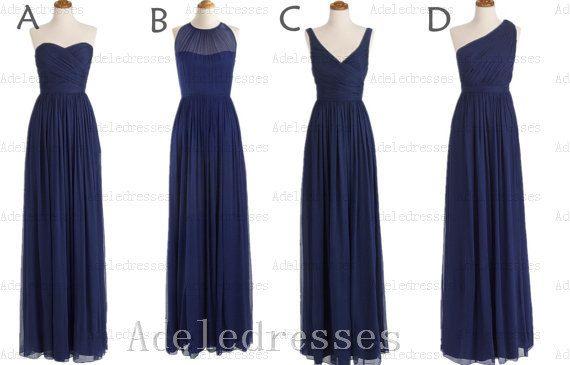 A Line Navy Blue Chiffon Long Bridesmaid Dress,Elegant Ruffles Dark Blue Bridesmaid Dress,Long Bridesmaid Dresses,One Shoulder Prom Dress on Etsy, $99.99