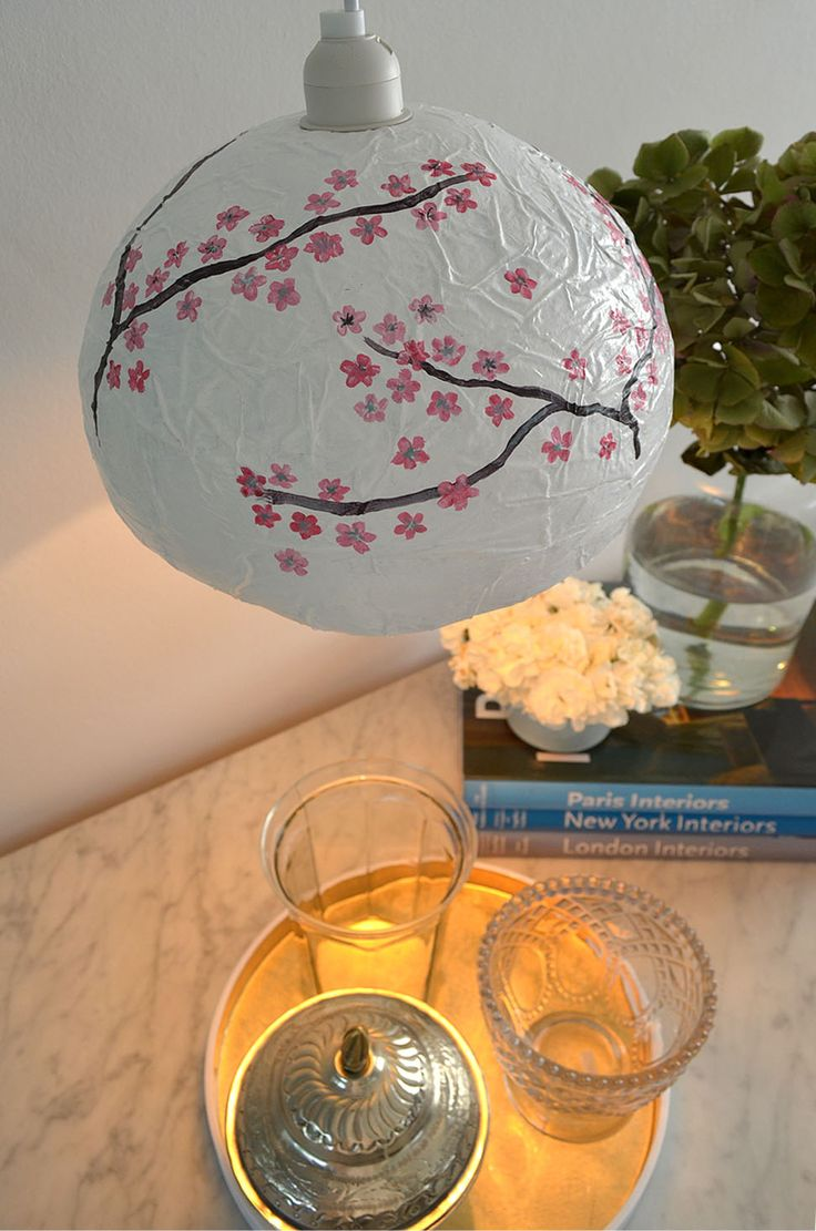 Craft paper lamp shades - Paper Mache Japanese Style Diy Lamp Shade