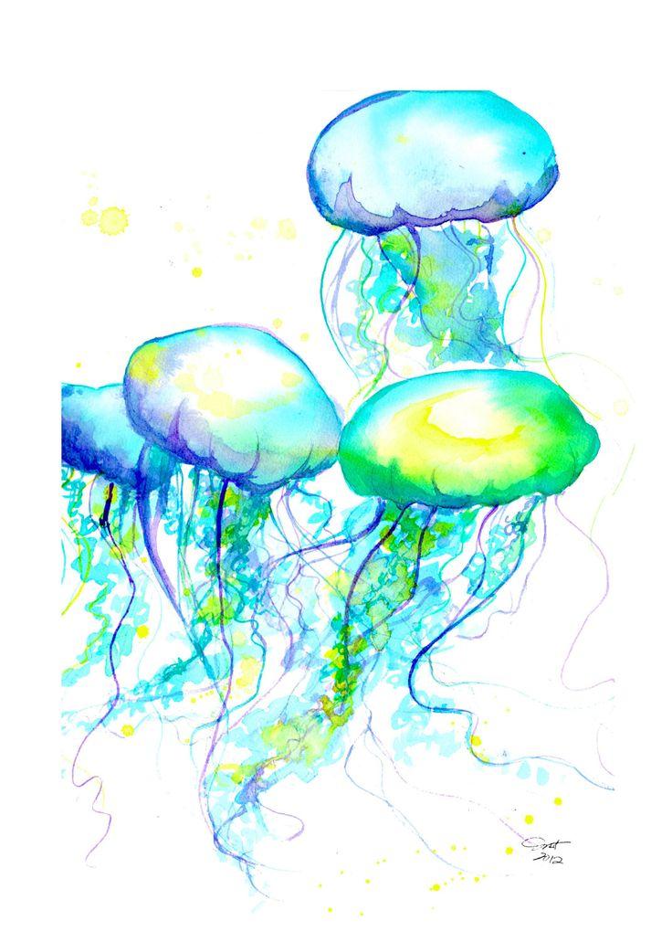 méduses à l'aquarelle, j'adore les couleurs éclatantes lumineuses