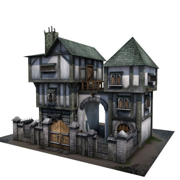 medieval building 04 townhouse 3d model low